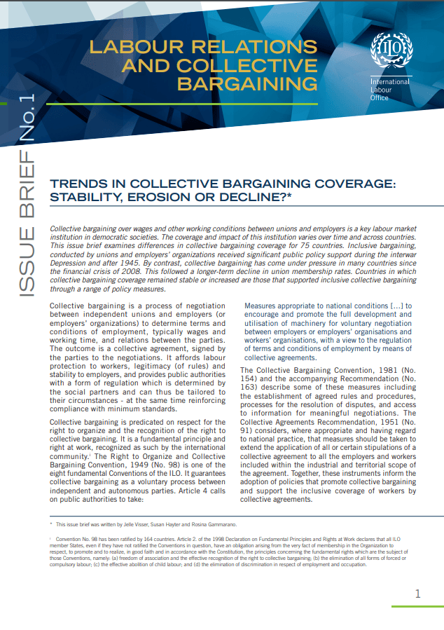 Trends in collective bargaining coverage: Stability, erosion or decline?