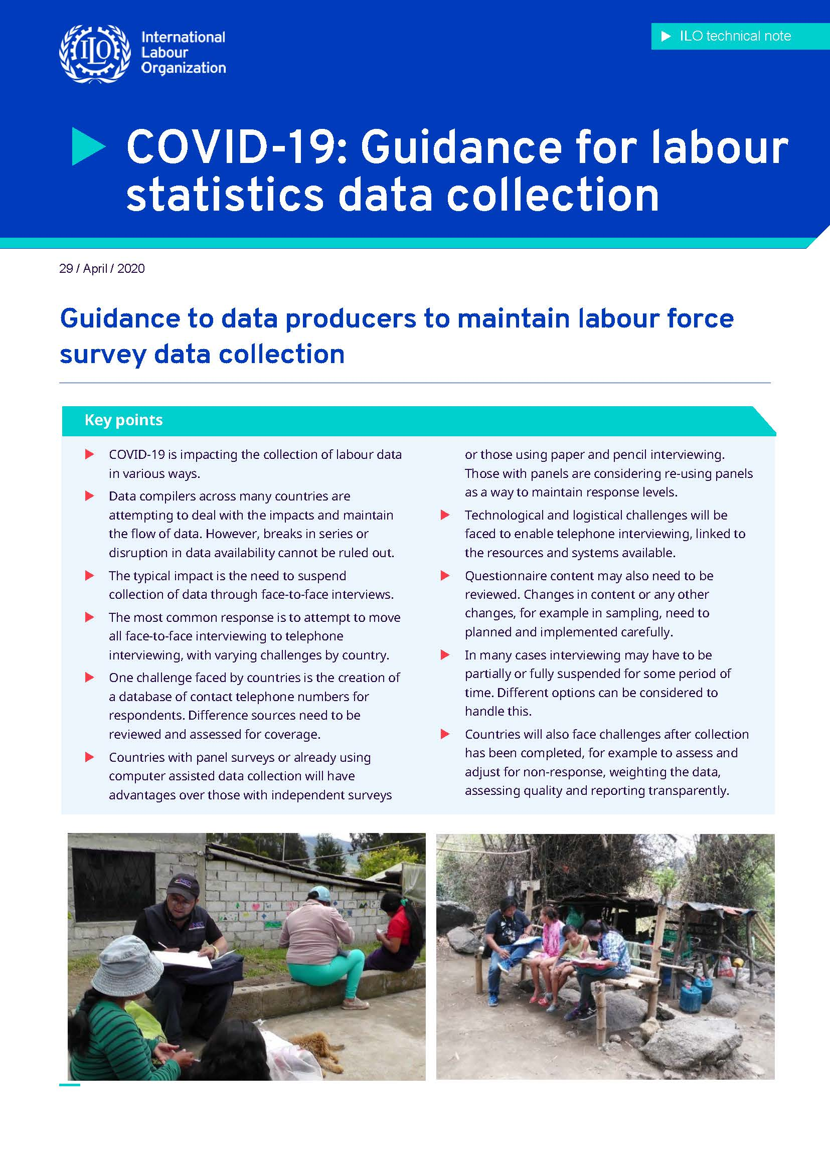Guidance to data producers to maintain labour force survey data collection