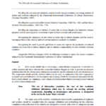 Resolution concerning statistics of strikes, lockouts and other action due to labour disputes